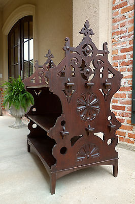 Antique French Country Carved Oak Pastry Stand Table Gothic Kitchen Island