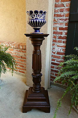 Antique French Carved Oak Pedestal Plant Stand Renaissance Bronze Display Table