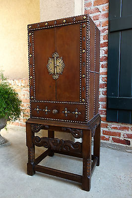 Antique English Carved Wood Leather Cabinet Wine Chest Brass British Colonial