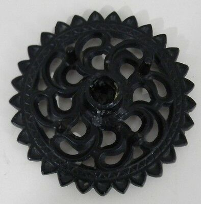 """Vintage Black Wrought Iron Candle Taper Holder Round Rosette 6.25"""" Across w/Feet"""