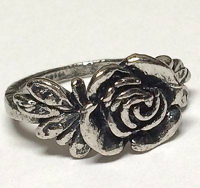 Antique Silver Plated Victorian Rose Ring Dainty Flower Bloom Size 4 5 Vintage