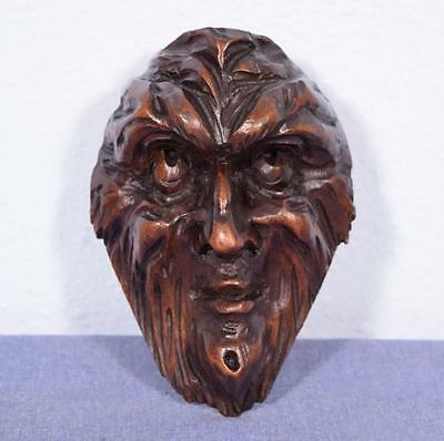 "*6"" French Antique Hand Carved Walnut Wood Man's Head Salvage Trim"