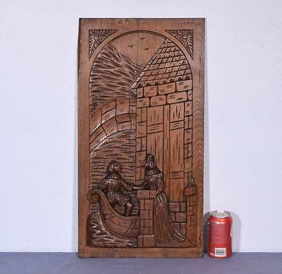 *Large French Antique Deeply Carved Panel Solid Oak with Man and Woman