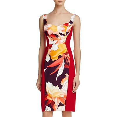 8501a2c9c589 Black Halo Womens Sadie Floral Print Colorblock Cocktail Dress BHFO 9515