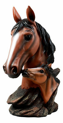 """Brown Chestnut Horse Mare With Foal Statue 12""""H Thoroughbred Pride Figurine"""