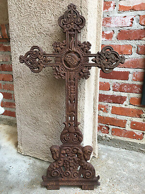 Antique French Cast Iron Cross Crucifix Chapel Garden Architectural Cemetery .B