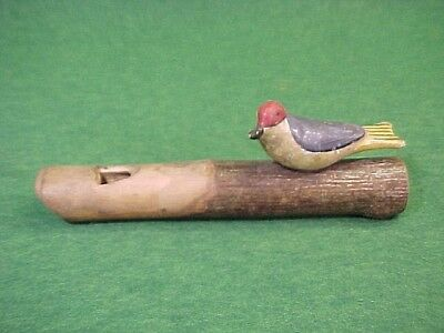 Wonderful Old Carved And Painted Wood Folk Art Bird Whistle Great Paint & Form