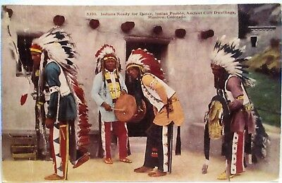 1910 Postcard Indians Ready For Dance,indian Pueblo,cliff Dwellings,manito Co