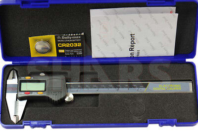 """SHARS 6"""" 150mm DIN862 Electronic Digital Caliper Stainless Carbide Jaw .0005"""""""
