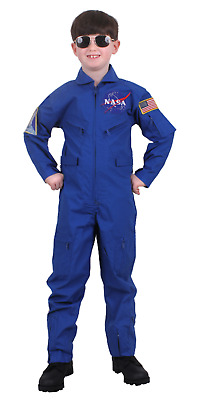Kids Boys Blue NASA Space Aviator Astronaut SpaceX Flight Suit Coveralls Costume