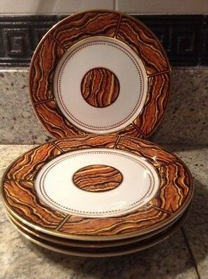 4 GEORGE BRIARD Private Collection TIGERS EYE china Plates 1970s Vtg Rare