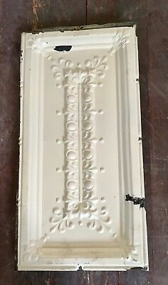 "Antique Vtg White Shabby Chic 24"" x 12"" Tin Metal Ceiling Tile Panel flor de lis"