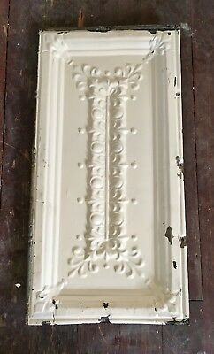 "Old Antique White Shabby Chic 24"" x 12"" Tin Metal Ceiling Tile Panel flor de lis"