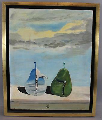 Vintage BOTA Mid-Century Modernist Surreal Pears Fruit Stillife Oil Painting NR