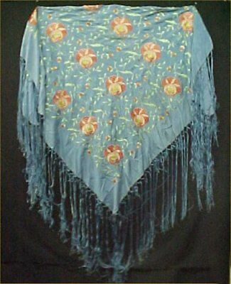 "Vintage Antique Ladies Scarf Silk Floral Embroidered 18"" LONG Fringe Blue Pink"