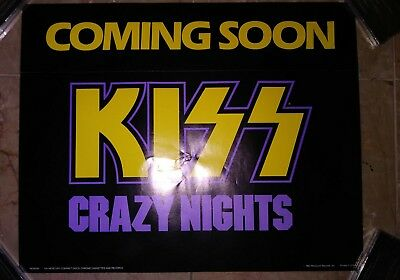 KISS Crazy Nights Coming Soon poster RARE Promotional 80s Heavy metal Simmons