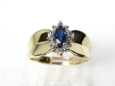 Estate 14k Yellow Gold .50ct Blue Sapphire & Diamond Ladies Ring 4.6g