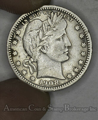 25 Cent Quarter 1908 BARBER HEAD 25 CENTS XF / EF