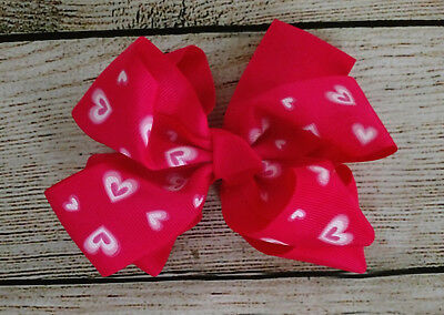 "Valentines HOT PINK Hearts Girls Hair Bow 5"" Boutique Baby Toddler AlligatorClip"