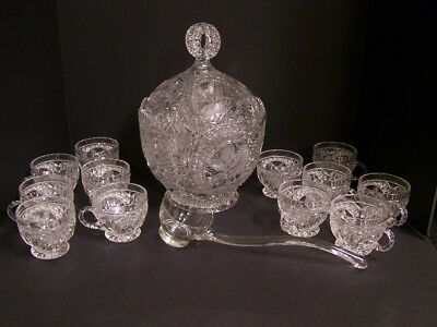 Vintage Hofbauer Clear Crystal Bird Punch Bowl **Free S&H**