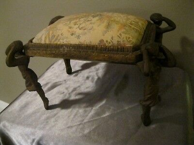 Vintage 1920's French Art Nouveau Deco Cast Iron Lady Female Figural Foot Stool