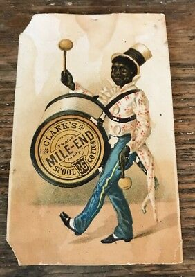 CLARK'S MILE END Spool Cotton BLACK African American TRADE CARD VTC Sewing