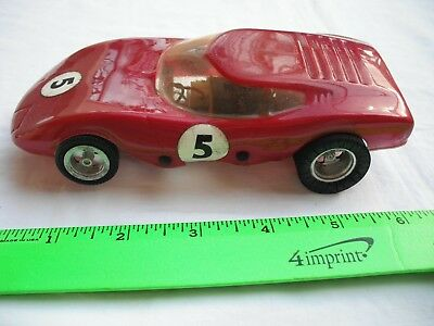 Vintage Race Slot Car,Rannalli Corvair Red Coupe 5,Silver Metal Frame,1/24 Scale