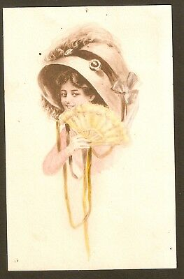 Collectible Antique Vintage 1911 Postcard: Girl in Large Hat Holds Yellow Fan