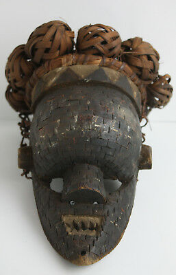 Vintage hand Crafted Wooden Tribal African Head Dress Raffia Face Mask