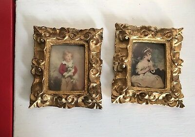Pair of VTG Italian Florentine Gold Gilt Toleware Picture Frames 4.75x5.75
