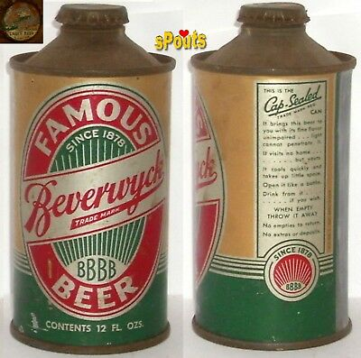 1930's FAMOUS BEVERWYCK BEER IRTP NEW YORK CONE TOP CAN+BEAVER BOTTLE CAP ALBANY