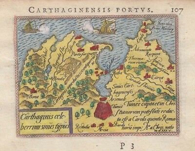 1595 Early Ortelius Map of Carthage, Tunis