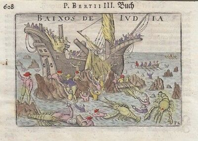 1612 Fine Bertius Engraving of Famous Shipwreck