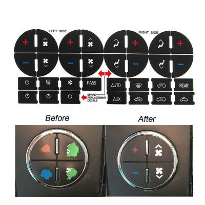 AC Dash Button Sticker Repair For GM Tahoe Suburban Avalanche Silverado Yukon