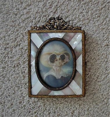19c French Miniature Portrait of Lady Woman Hand-Painted Signed Antique Painting