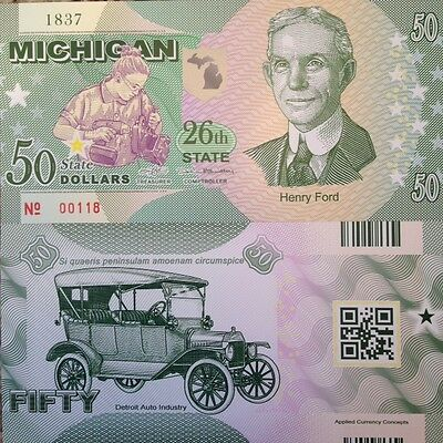 US STATES MICHIGAN 26th STATE 2016 COMMEMORATIVE POLYMER NOTE FROM A USA SELLER
