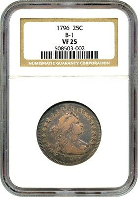 1796 25c NGC VF25 (B-1) One Year Type Coin - Bust Quarter - One Year Type Coin