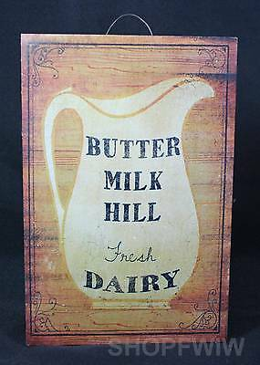 """Hand-Crafted 12"""" x 8"""" Rustic Wood Butter Milk Hill Dairy Sign Made In USA"""