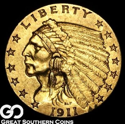 1911-D Quarter Eagle, $2.5 Gold Indian, Strong D, Coveted BU++ Scarce Key Date!