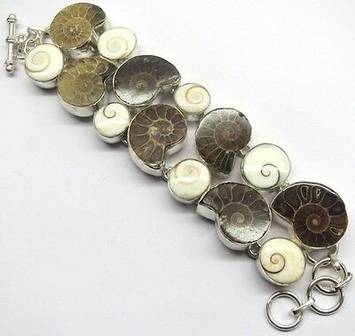 75 Gm Natural Ammonite Fossil,Shiva Eye  Silver Overlay Bracelet Pb-2340