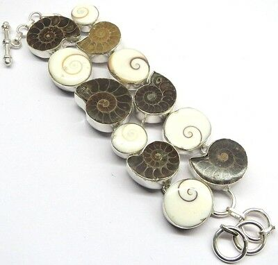 77 Gm Natural Ammonite Fossil,Shiva Eye  Silver Overlay Bracelet Pb-2343