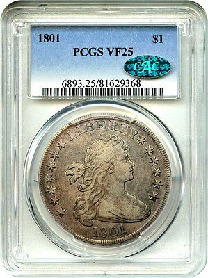 1801 $1 PCGS/CAC VF25 - Bust Silver Dollar - Great Bust Dollar Type Coin
