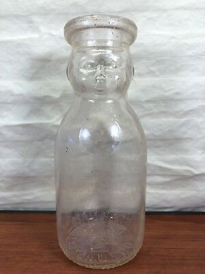 Vintage Pecora's Dairy Baby Face Creamer Glass Pint Milk Bottle Hazleton, PA.