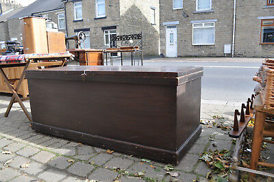 large and heavy victorian solid pine blanket box chest trunk