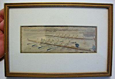 Antique framed Baxter stevenograph boat race pure silk woven picture