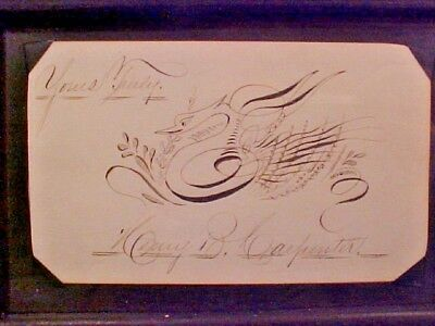 Old Antique Spencerian Calligraphy Penmanship Greeting Card Drawing