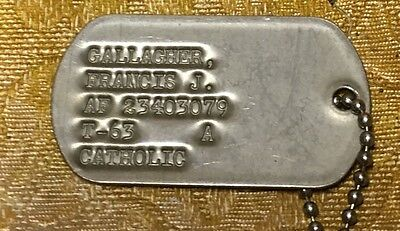 GI Genuine Issue Stamped Military Army Dog Tags, Custom w/ Chain from 1950's