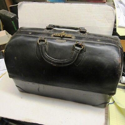 Vintage Leather Doctor's Medical Bag Emdee By Schell Dark Brown Steampunk