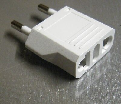 Travel Adapter UK Shaver Toothbrush BS4573 to EU CEE-7/16 2-pin EuroPlug WHITE