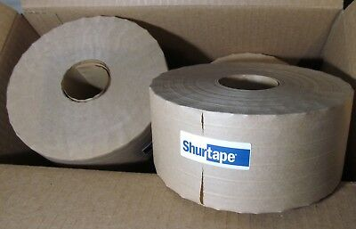 "10 ROLLS SHURTAPE WATER ACTIVATED REINFORCED GUMMED KRAFT PAPER TAPE 3"" x 450'"